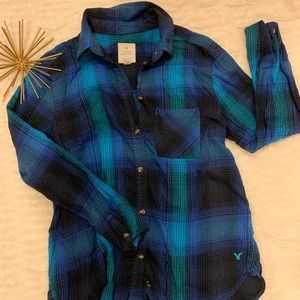 Like New American Eagle Blue Flannel Top Small